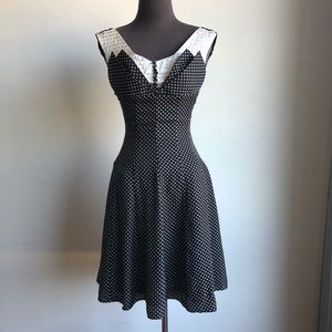 Unique Vintage sz XS 50's polkadot fit flare dress